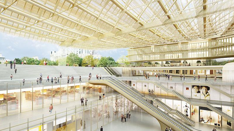 Interior do shopping Forum des Halles em Paris
