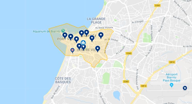 Mapa da melhor região para se hospedar em Biarritz