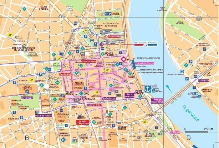 Mapa turístico em Bordéus