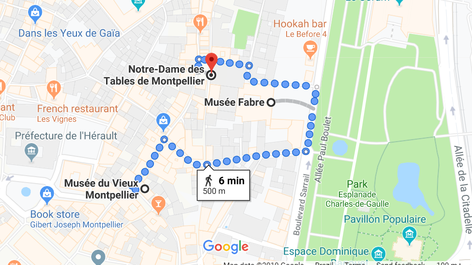 Mapa do segundo dia em Montpellier