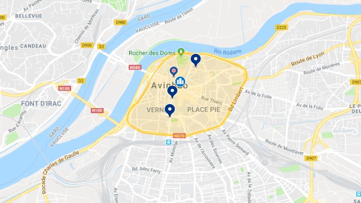 Mapa da melhor região para se hospedar em Avignon
