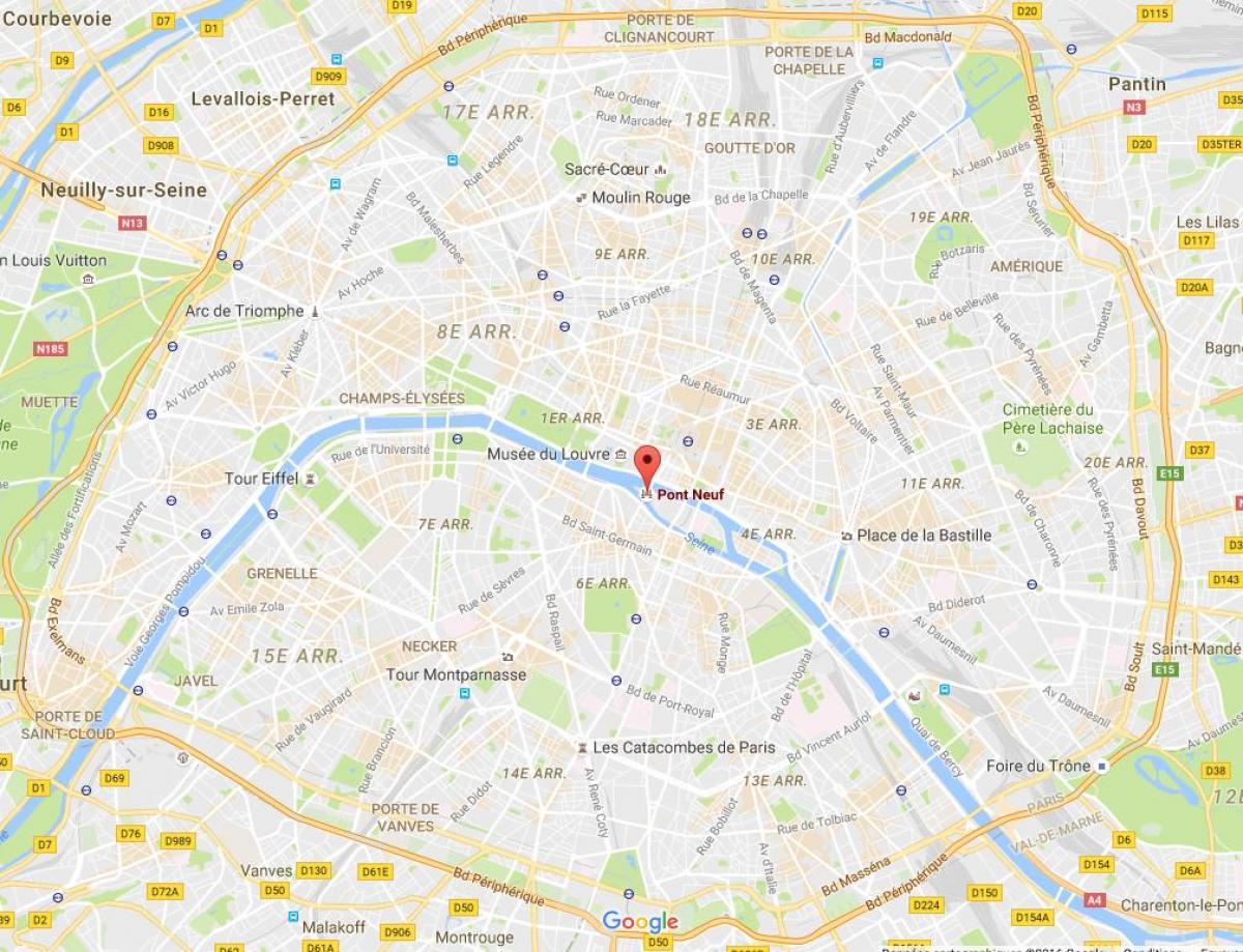 Mapa da Pont Neuf em Toulouse