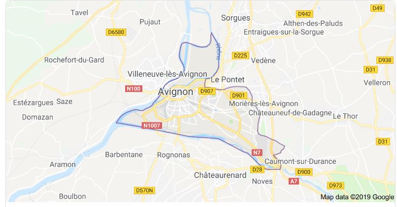 Mapa de Avignon